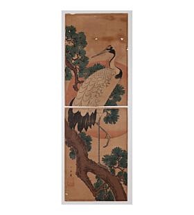 hiroshige I utagawa, Kakemono-e, Japanese Crane, bird, flower
