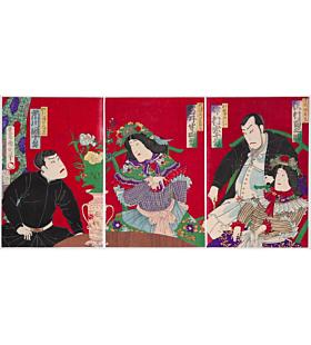 kunichika toyohara, Kabuki Play, Hyoryu Kidan Seiyo, meiji era, actors, traditional theatre