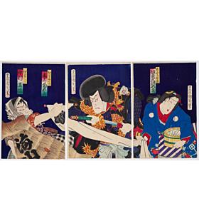 kunichika toyohara,  Kabuki Play, Sarashime, Ohmi no Okane, meiji era, traditional theatre