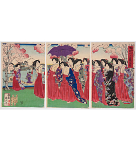 Kunitoshi Utagawa, Sumida River, meiji period, japanese woodblock print, japanese art, japanese antique