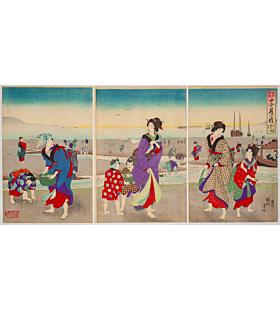 Chikanobu Yoshu, March, Clam Digging, Twelve Months of Edo Customs