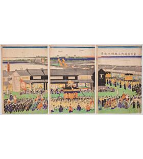 Yoshifuji Utagawa, Distant View of Gofuku Bridge from Tori-machi, Tokyo District