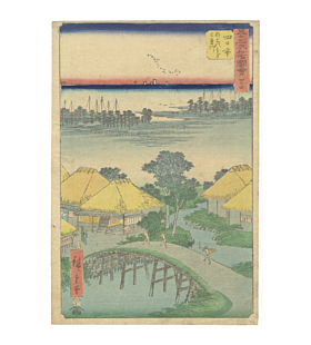 hiroshige utagawa, hiroshige ando, japanese landscape tokaido road, original japanese woodblock print, japanese antique, ukiyo-e