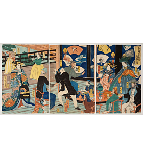 Yoshiiku Utagawa, The Five Nations, Gankiro Tea House