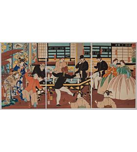 yoshitora utagawa, foreigners enjoying a party