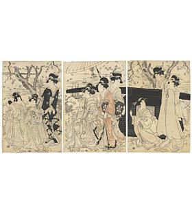 eizan kikugawa, beauties, cherry blossom viewing, edo
