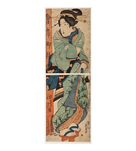 eisen keisai, courtesan, kimono