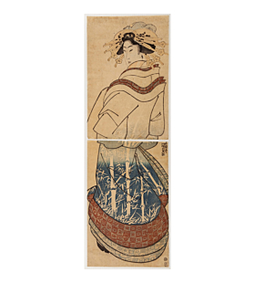 kunisada I utagawa, courtesan in blue kimono