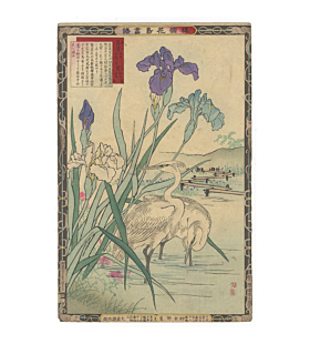 bairei kono, bird and flower print
