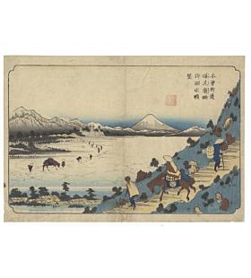 eisen keisai, lake suwa, kisokaido, landscape, mount fuji
