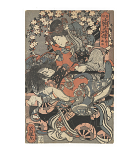 kuniteru utagawa, fox tadanobu, lady shizuka