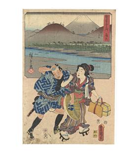 hiroshige ando, toyokuni III utagawa, mount fuji, tokaido road