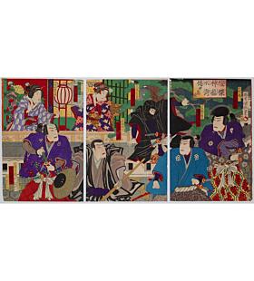 kunimasa baido, kabuki theatre, suikoden, actors