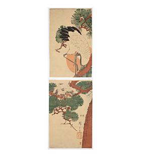 hiroshige ando, crane, young birds, pine tree