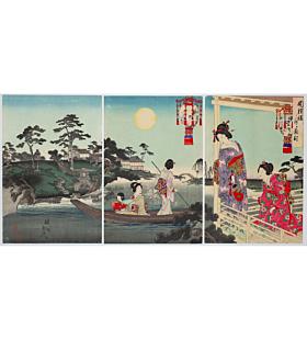 chikanobu yoshu, view of the moon, Japanese garden, landscape, beauty, kimono