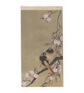 koson ohara, redstart, birds, cherry tree