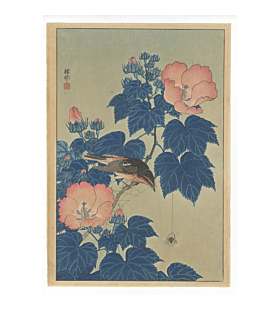 koson ohara, Fly-catcher on Rose Mallow Watching Spider, kacho-ga, bird and flower print