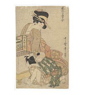utamaro kitagawa, optic picture, children, beauty, edo era