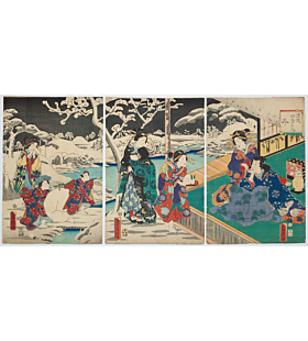 fusatane utagawa, tale of genji, winter season, snow landscape