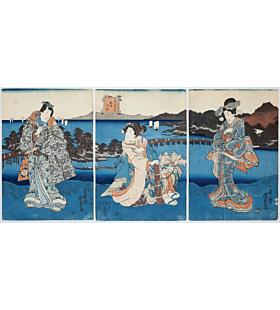 kunisada II utagawa, evening glow, tale of genji, edo