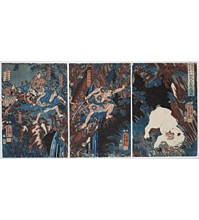 yoshikazu utagawa, Shinten-o vanquishes a white monkey on the Kiso Mountain during the Yowa period, warrior