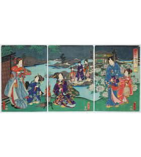 kunisada II utagawa, tale of genji, bamboo, landscape