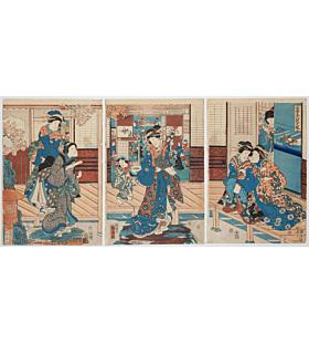 kunihiko and kuniteru utagawa, beauties, kimono design