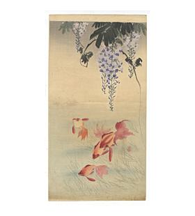 koson ohara, gold fish, kingyo, wisteria