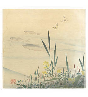 Zeshin Shibata, Sweetfish and Butterflies, Nature Print