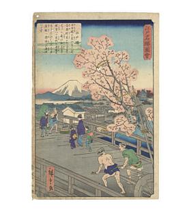 hiroshige II utagawa, edobashi, mount fuji, edo