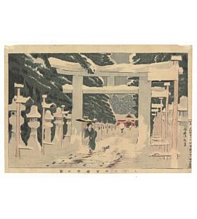 kiyochika kobayashi,  Snow Scene at Toshoan Shrine in Ueno, winter