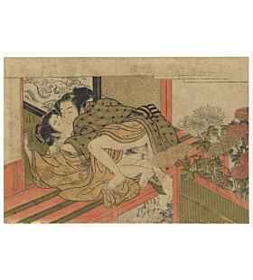 koryusai isoda, lovers, shunga, erotica