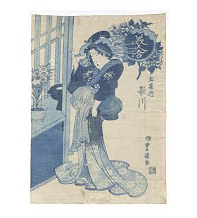 toyokuni II utagawa, courtesan, prussian blue, aizuri-e