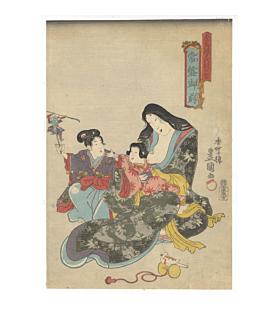 toyokuni III utagawa, Tokiwa-Gozen, the Wife of Minamoto no Yoritomo