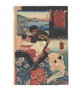 kuniyoshi utagawa, beauty, cat, regional products