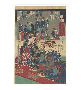 yoshitora utagawa, clocks, modern world, courtesans