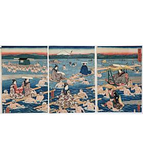 hiroshige II utagawa, mount fuji, river oi