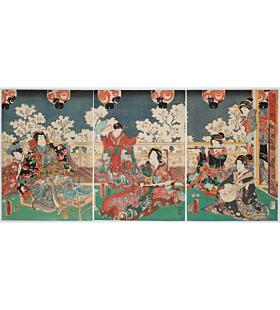 toyokuni III utagawa, tale of genji, music