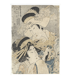 utamaro kitagawa, beauty, Courtesans of the Daimonji-ya House at the Niwaka Festival in Yoshiwara