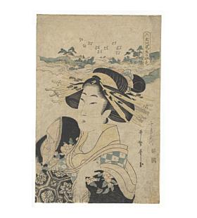 Utamaro II Kitagawa, Water Colour of Six Tamagawa Rivers, Beauty Portrait