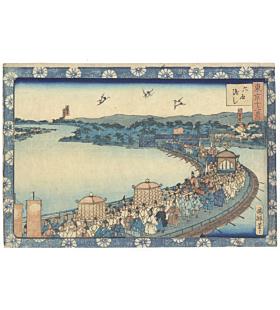 kuniteru II utagawa, Ferry Across the Rokugo River, Twelve Views of Tokyo