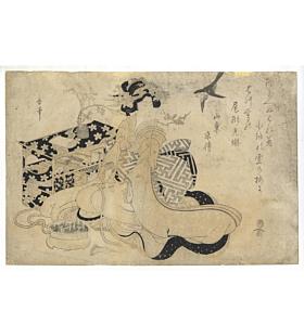 Utamaro Kitagawa, Beauty and a Sparrow, Edo Era