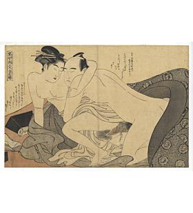 Shuncho Katsukawa, Shunga, Entwined Coloured Threads of Men and Women of the Day