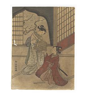 harunobu suzuki, woman with bird cage