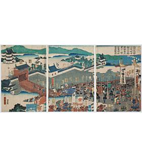 Yoshitora Utagawa, Lord Minamoto no Tsunemoto attacking Lord Sumitomo