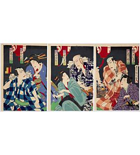 kunichika toyohara, kabuki theatre, actors, tattoo design