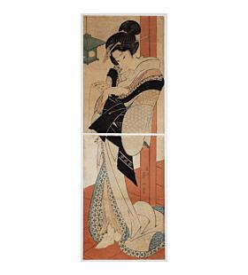 eizan kikugawa, lady reading a letter, beauty, kakemono-e