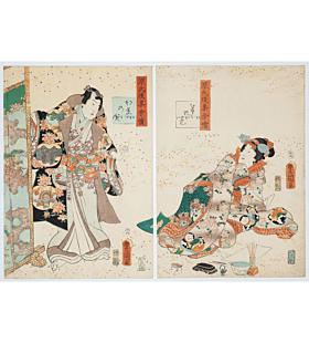 toyokuni III utagawa, tale of genji, kimono design, edo period