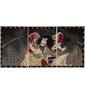 kunichika toyohara, Actor Ichikawa Udanji Plays as Sugawara no Michizane, kabuki theatre