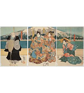 kuniyoshi utagawa, mount fuji, kabuki theatre